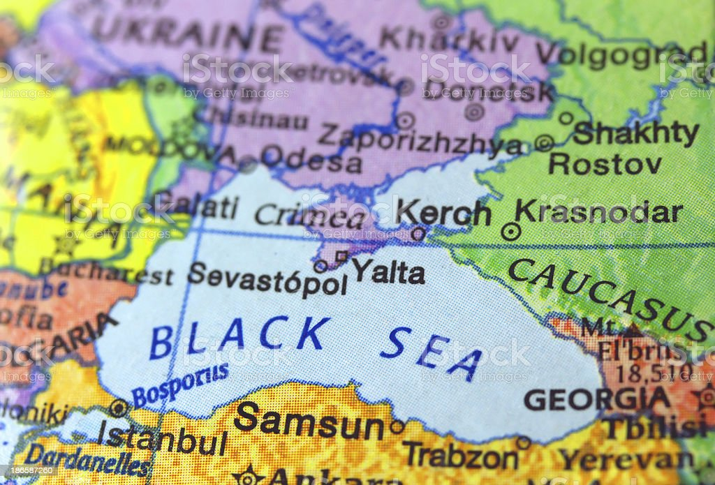Map of the Black Sea Region royalty-free stock photo