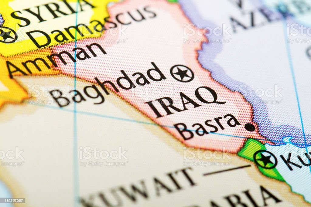 Map of the country Iraq in red stock photo