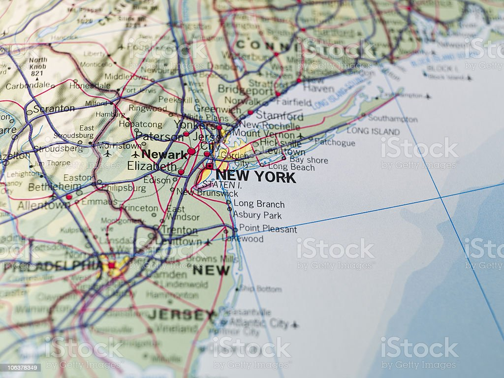 Map of the East Coast USA stock photo