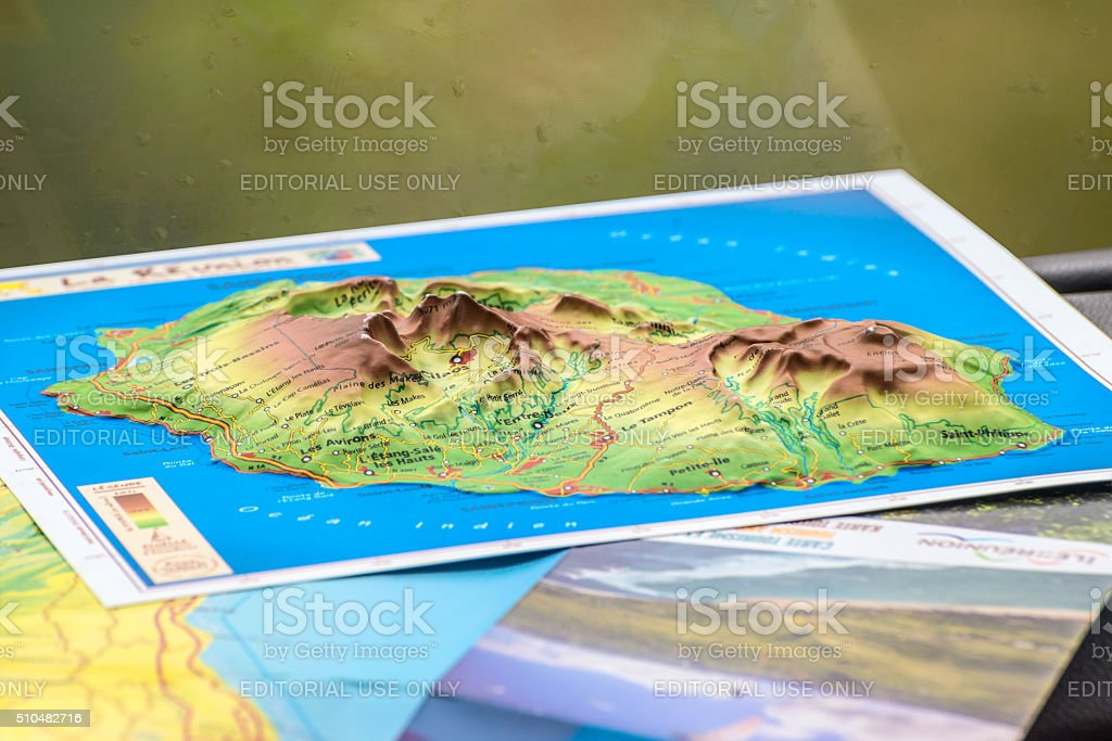 Map of the island of Reunion stock photo