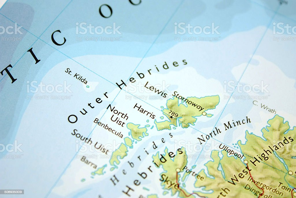 Map of the Outer Hebrides stock photo