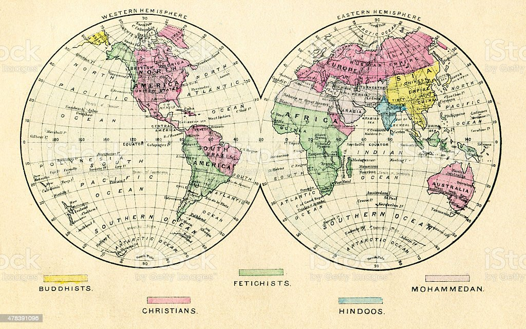 Map Of The Religious World 1884 stock photo