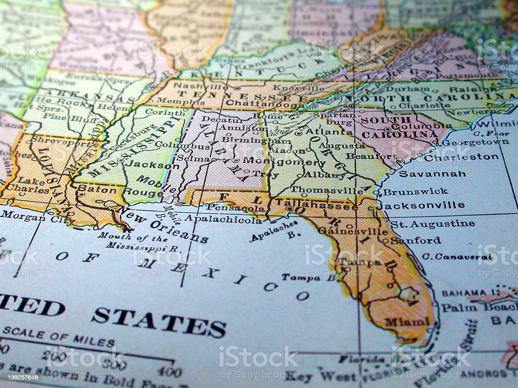 Map of the Southeast United States stock photo