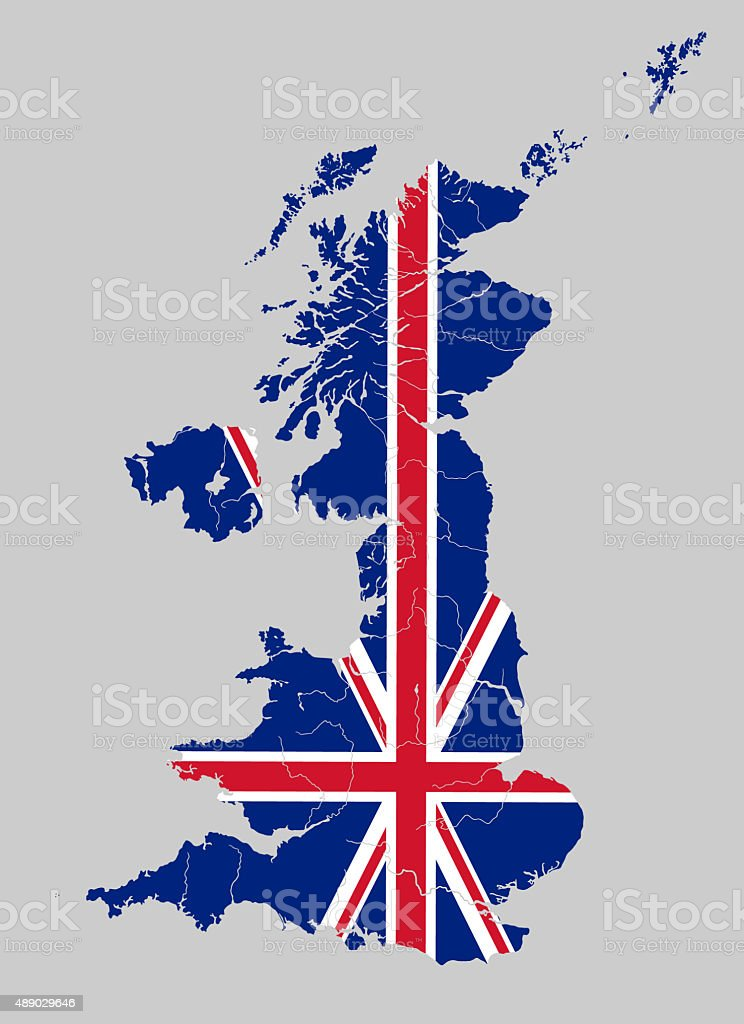 Map of the United Kingdom with rivers on British flag. vector art illustration