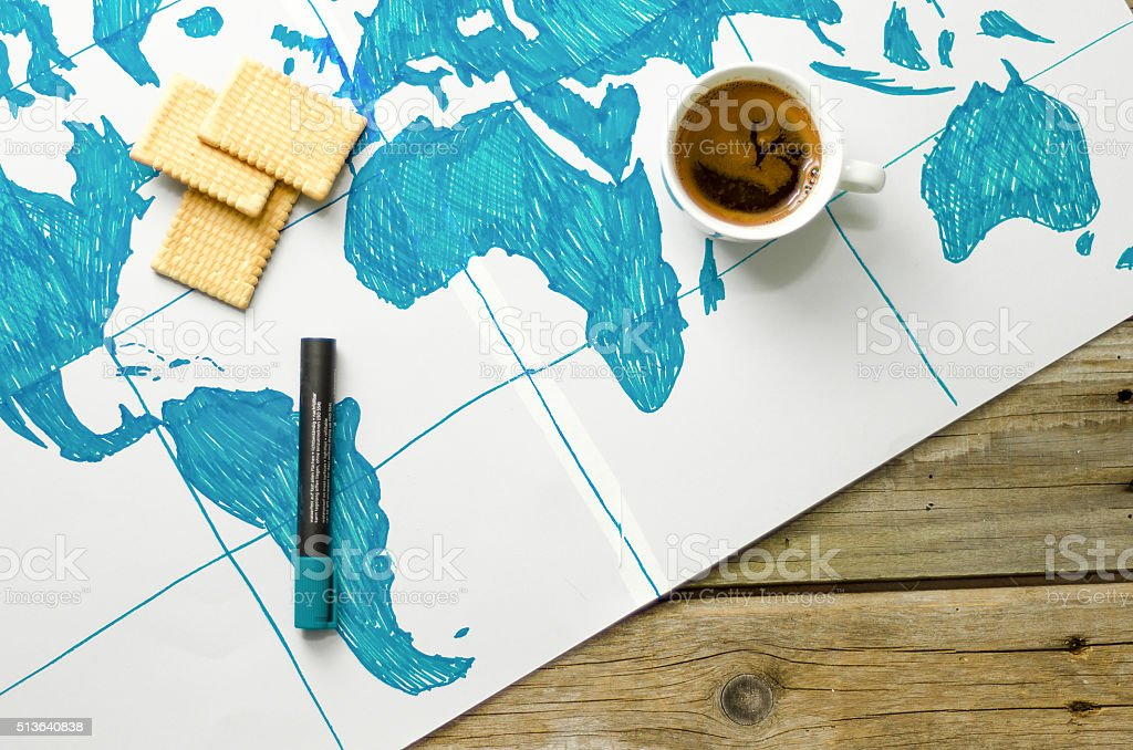 Map of the world drawn by hand on paper stock photo