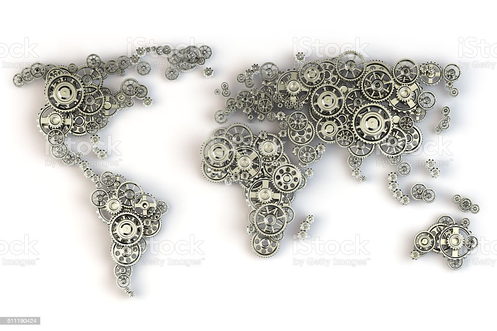 Map of the world from gears. Global economy concept stock photo