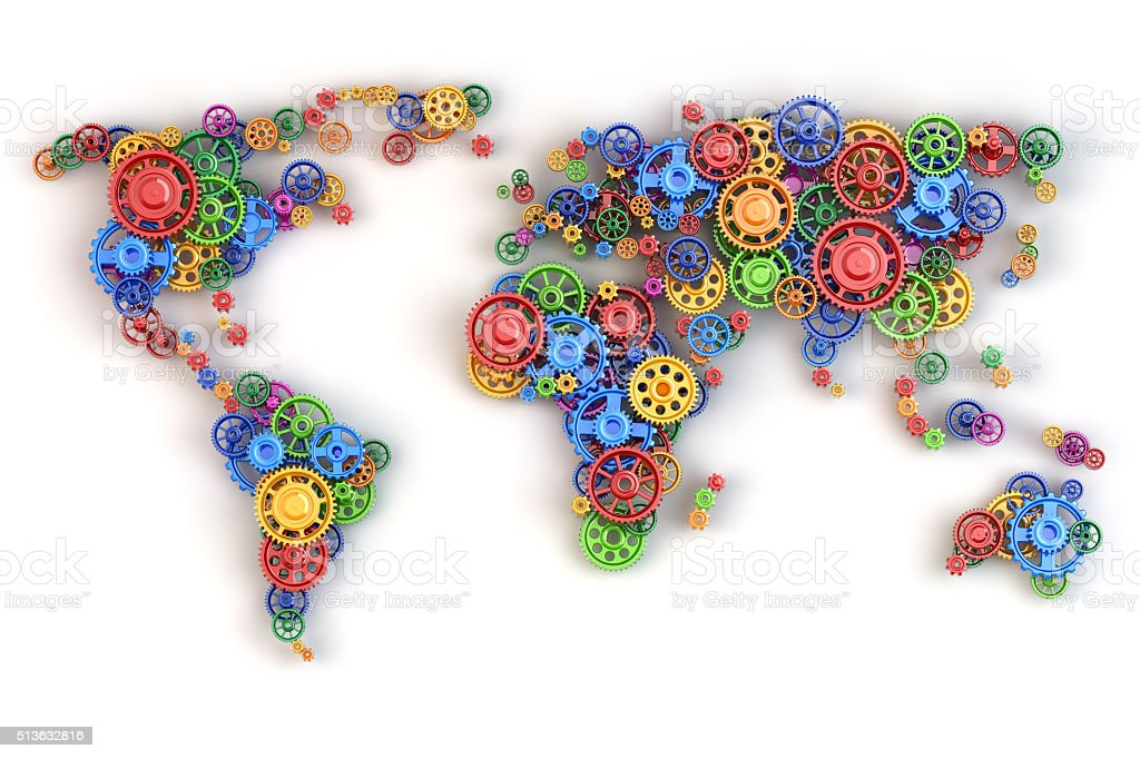 Map of the world from gears. Global economy connections stock photo