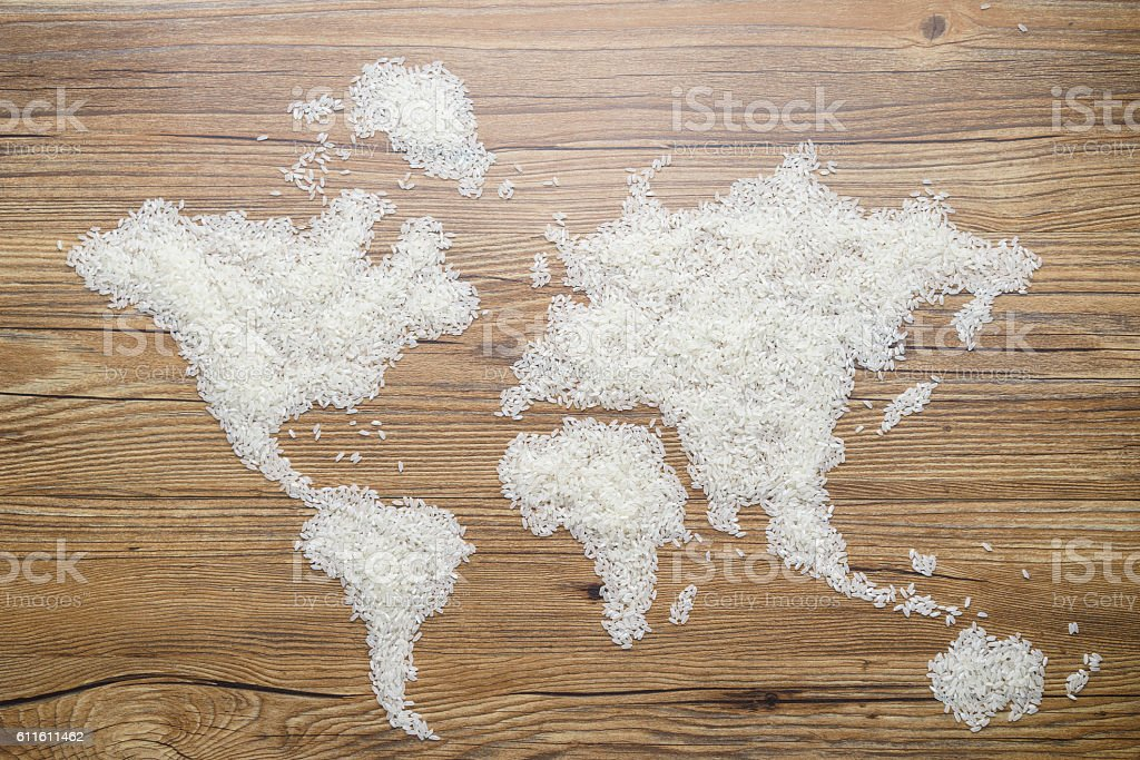Map of the World made by rice stock photo