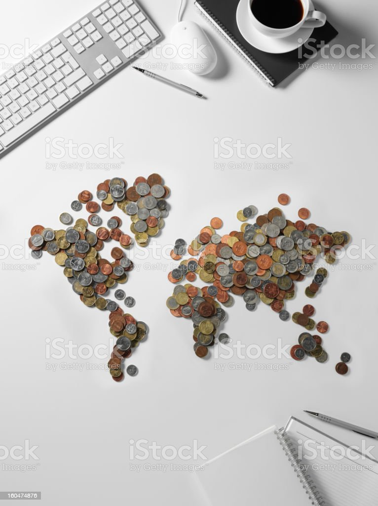 Map of the World made from Currency royalty-free stock photo