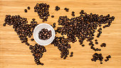 map of the world made of coffee beans