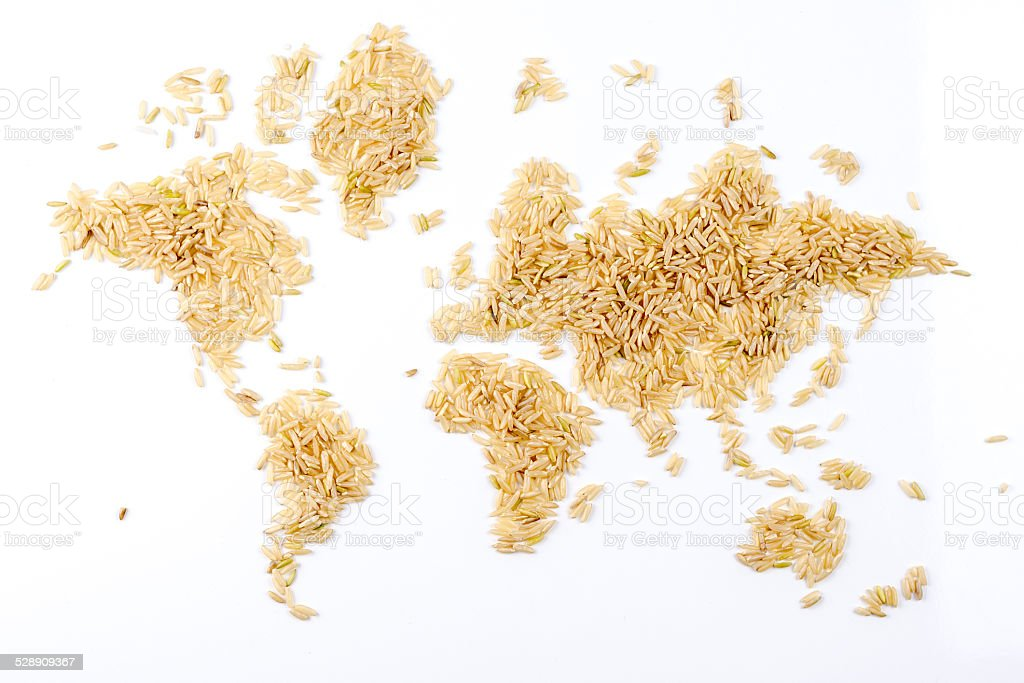 map of the world made of natural rice on white stock photo