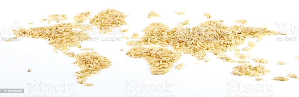 map of the world made of rice on white background stock photo