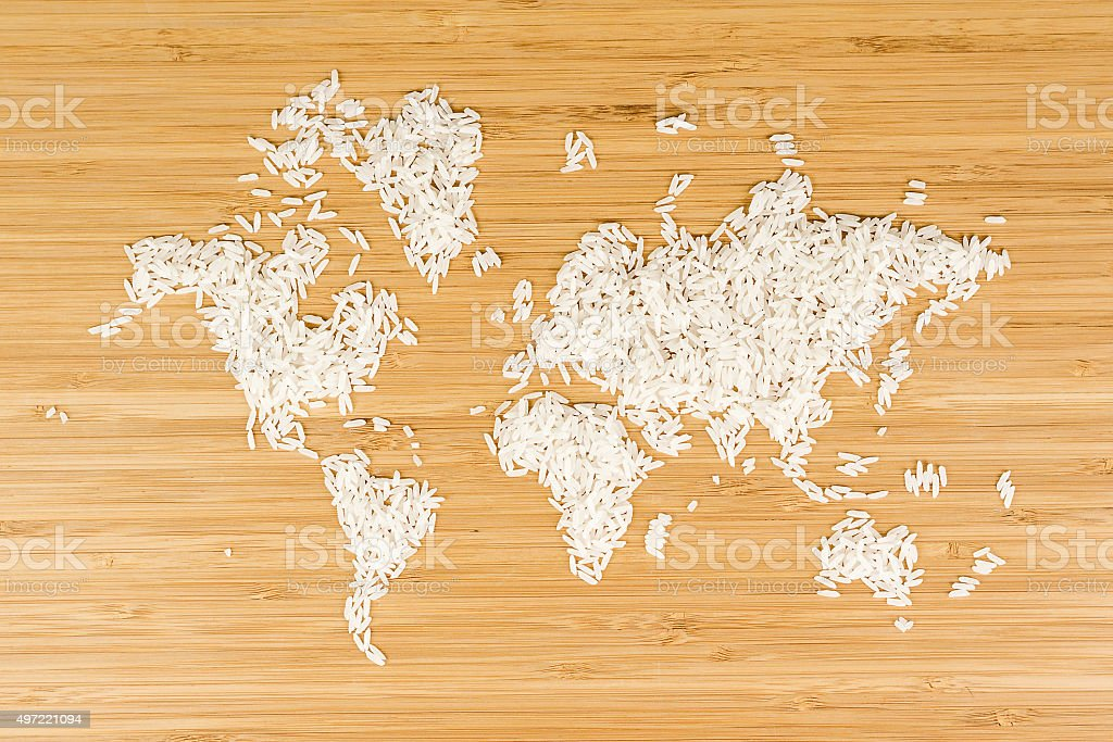 map of the world made of white rice stock photo