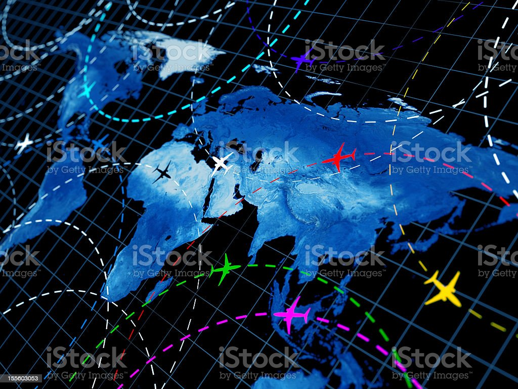 Map of the world showing air traffic patterns stock photo