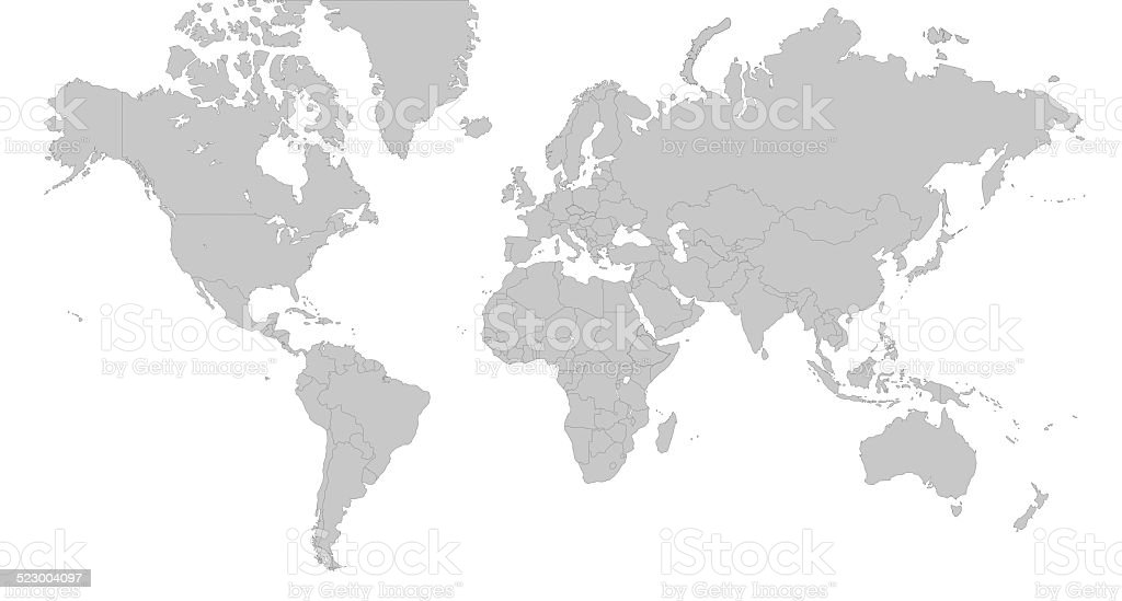Map Of The World - Silver Gray Illustration stock photo