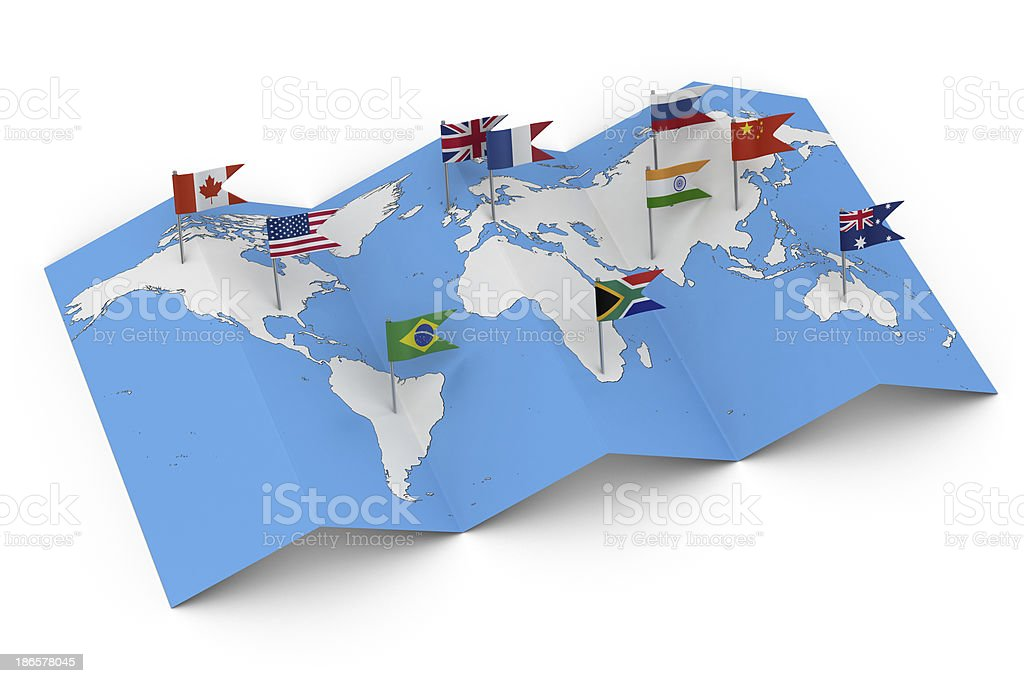 Map of the World with Flags stock photo
