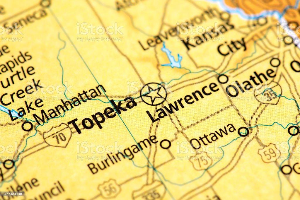 Map of Topeka in Kansas State, USA stock photo