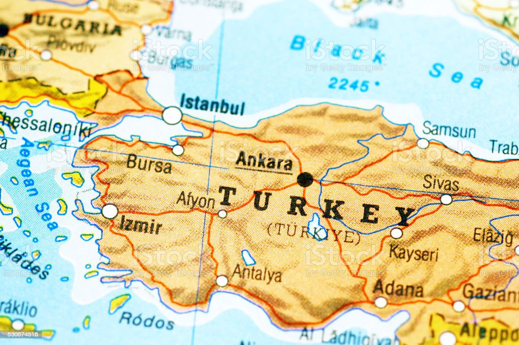 Map of Turkey stock photo