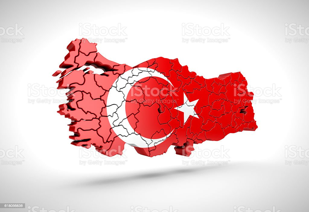 Map of Turkish on a grey background. stock photo