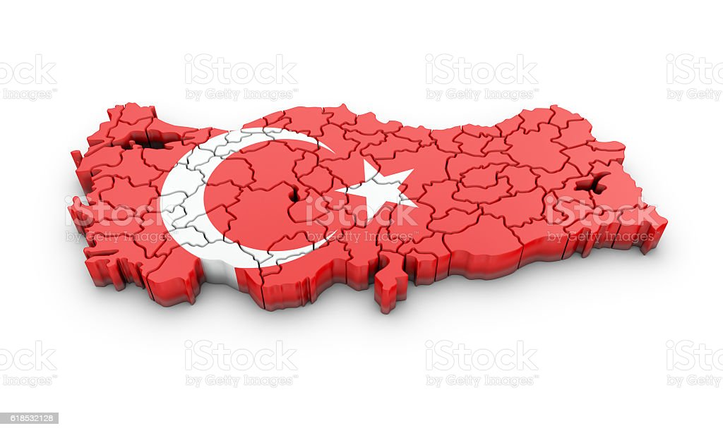 Map of Turkish on a white background. stock photo