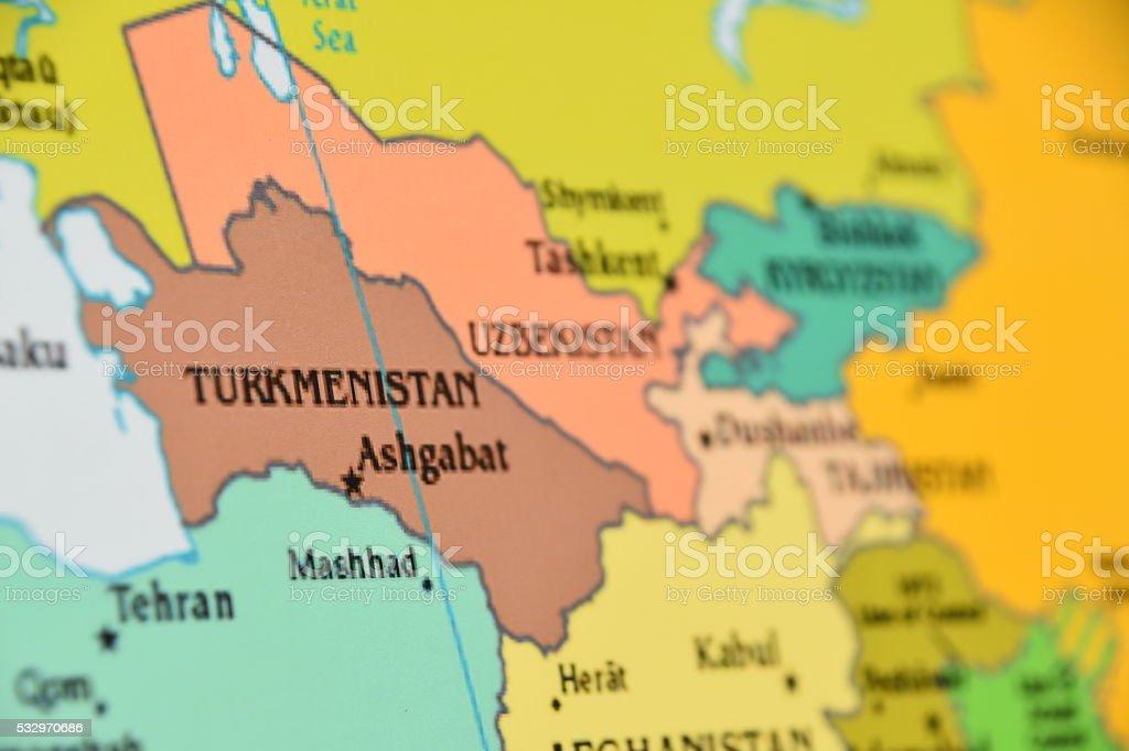 Map of Turkmenistan stock photo