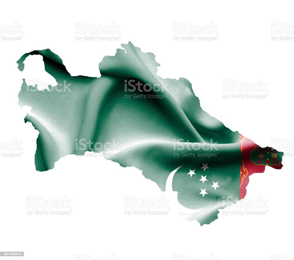 Map of Turkmenistan with waving flag isolated on white stock photo