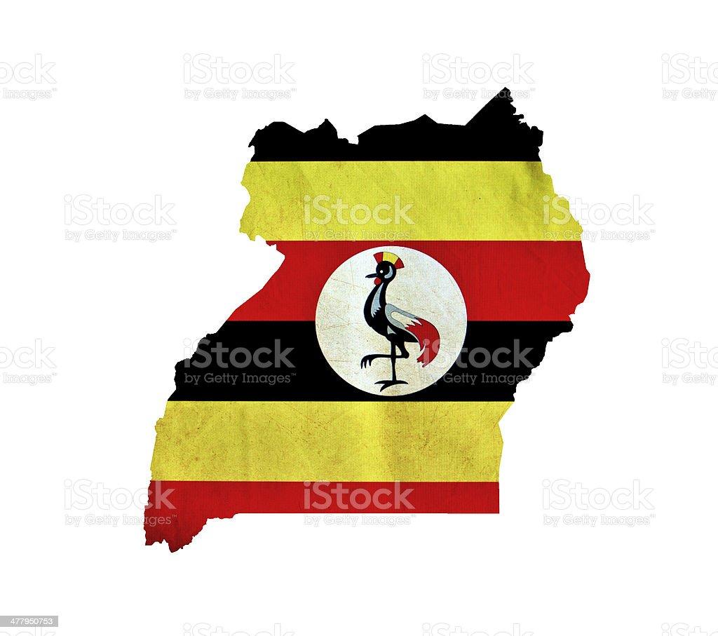 Map of Uganda isolated stock photo