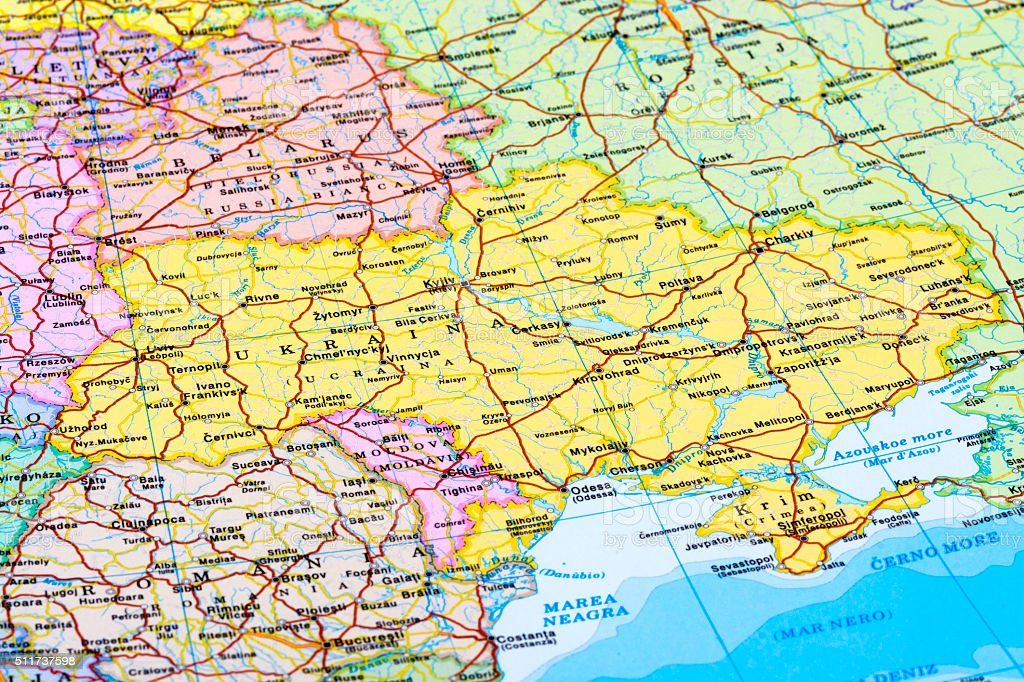 Map of Ukraine stock photo