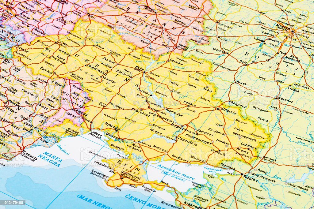 Map of Ukraine stock photo