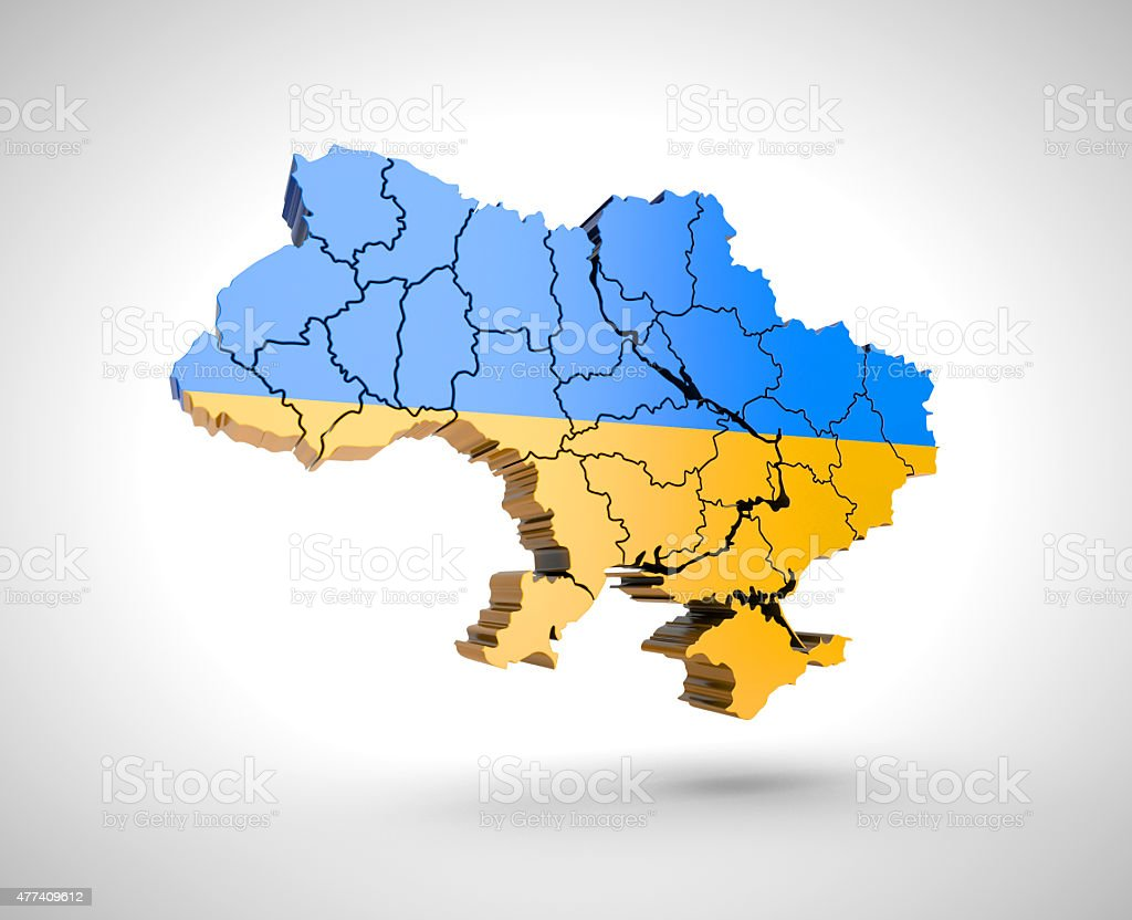 Map of Ukraine with shadow on a grey background. royalty-free stock photo