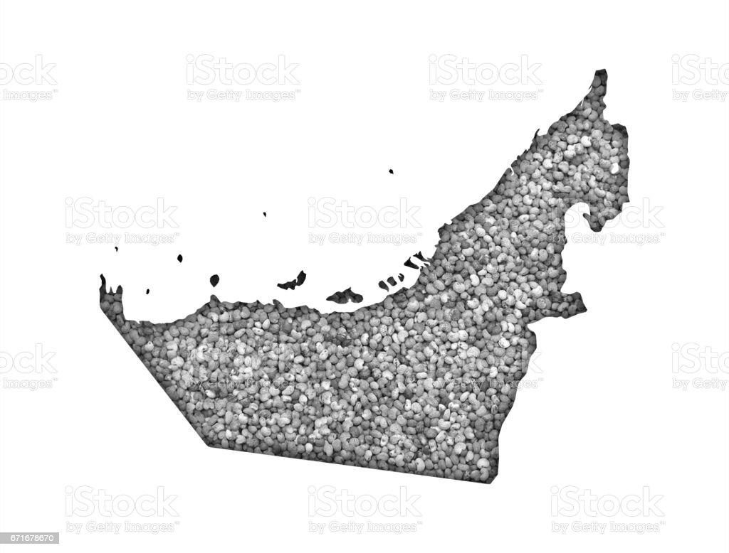 Map of United Arab Emirates on poppy seeds stock photo