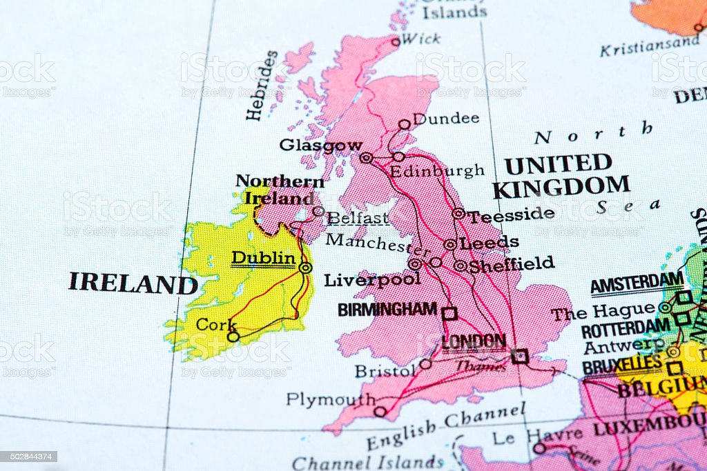 Map of United Kingdom and Ireland stock photo