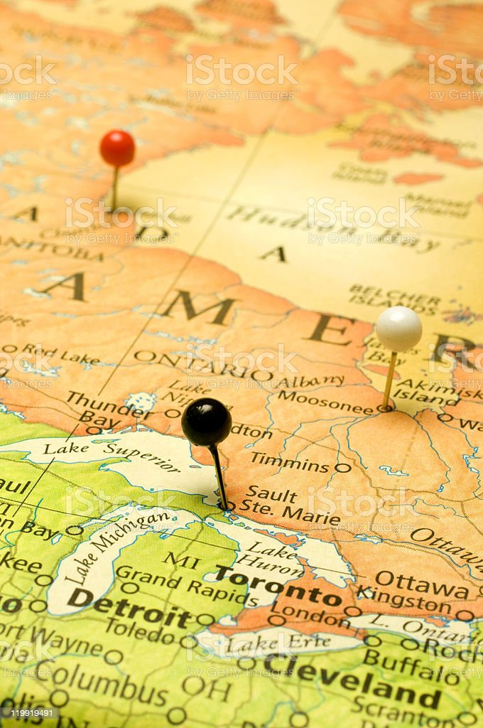 Map Of United States And Canadian Border At Great Lakes stock photo