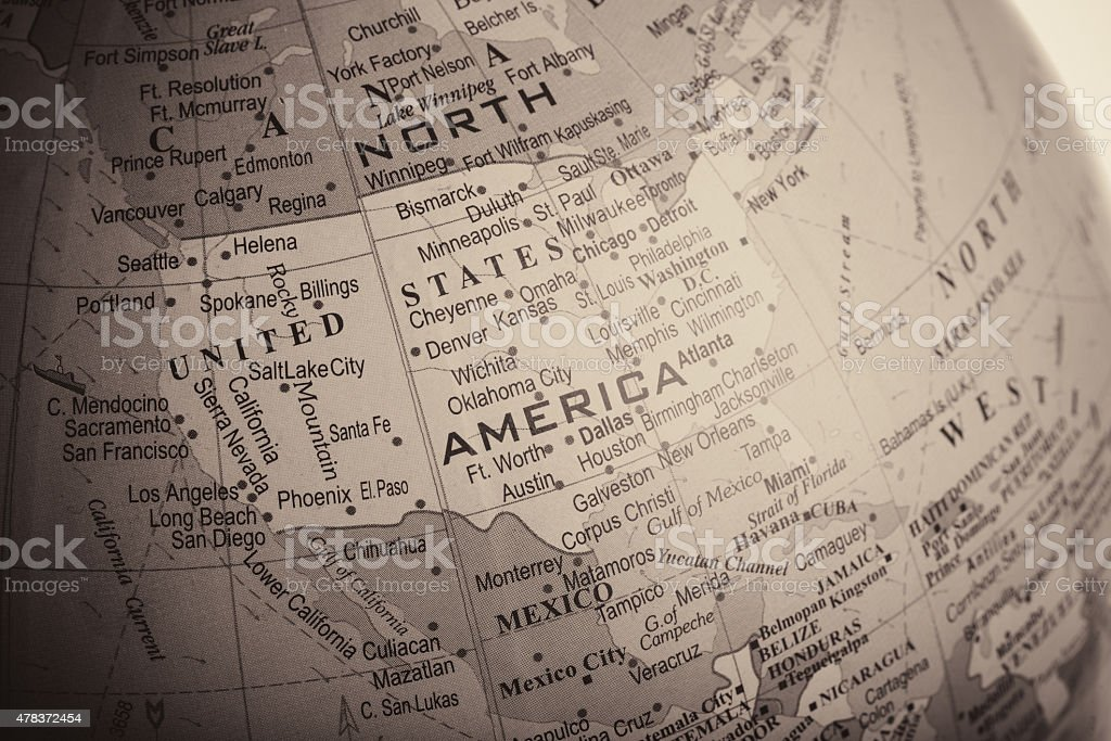 Map of United States of America and its Surrounding Countries stock photo