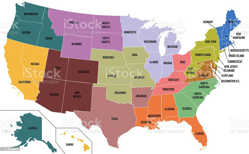 Map Of United States Of America With State Names stock photo