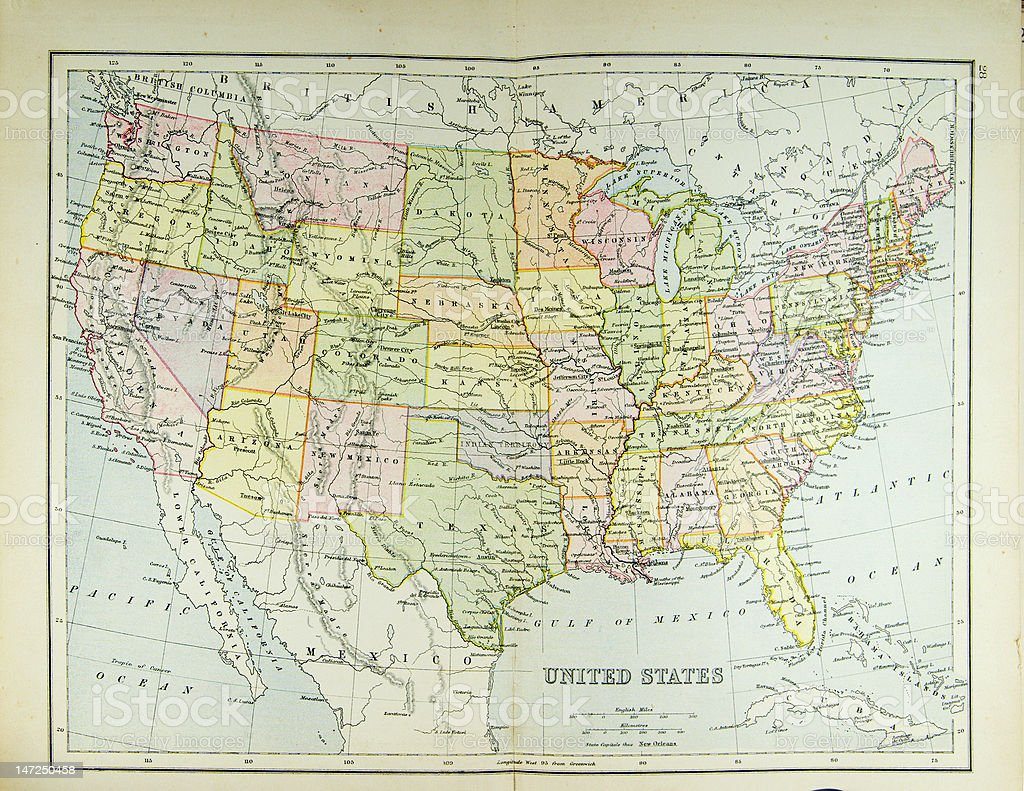Map of United States stock photo