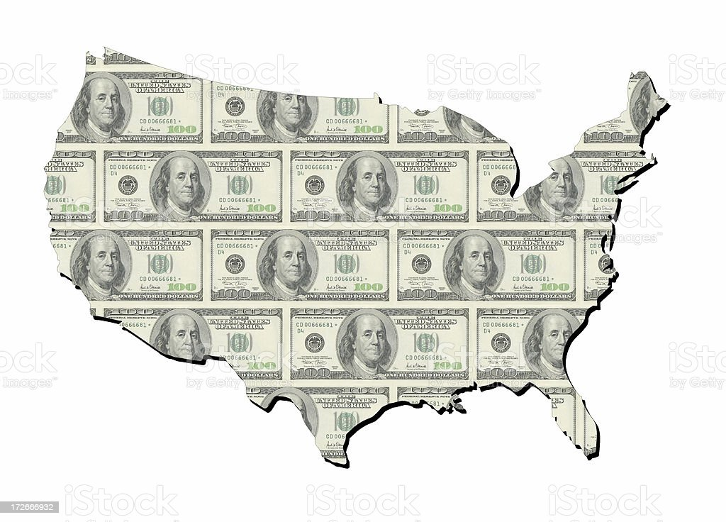 map of united states with neat one hundred dollars bills royalty-free stock photo
