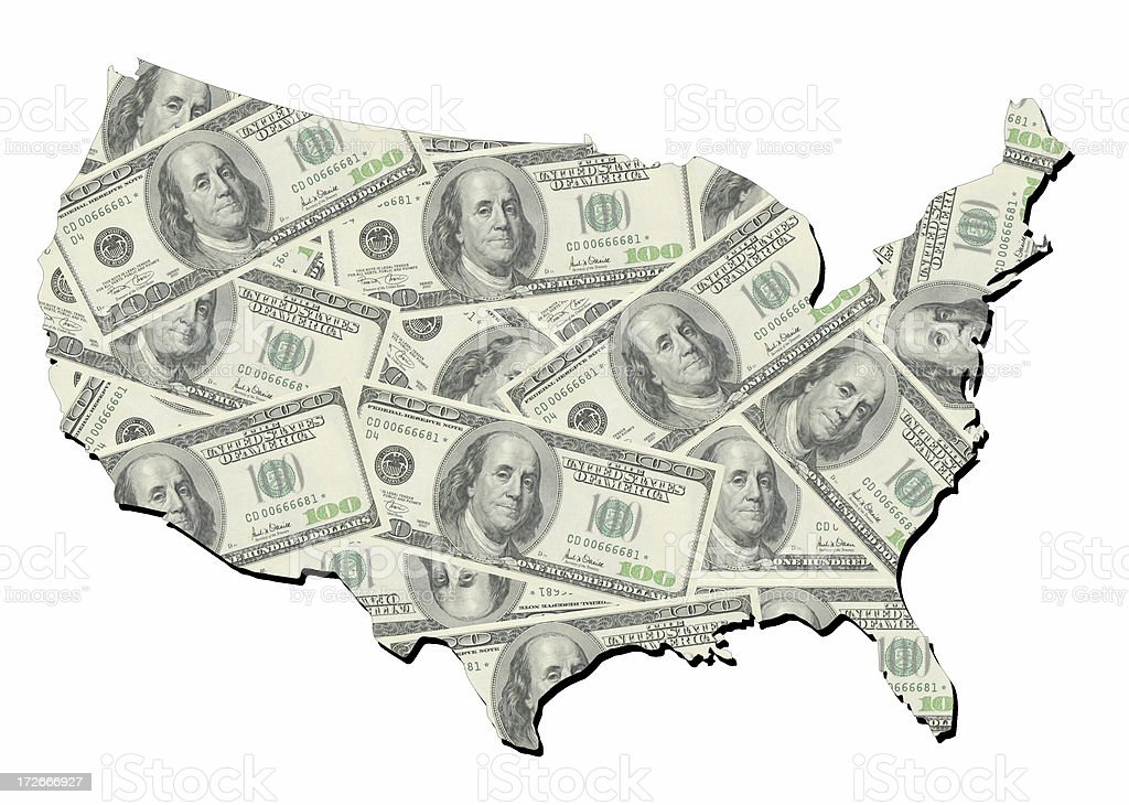 map of united states with random one hundred dollars bills stock photo