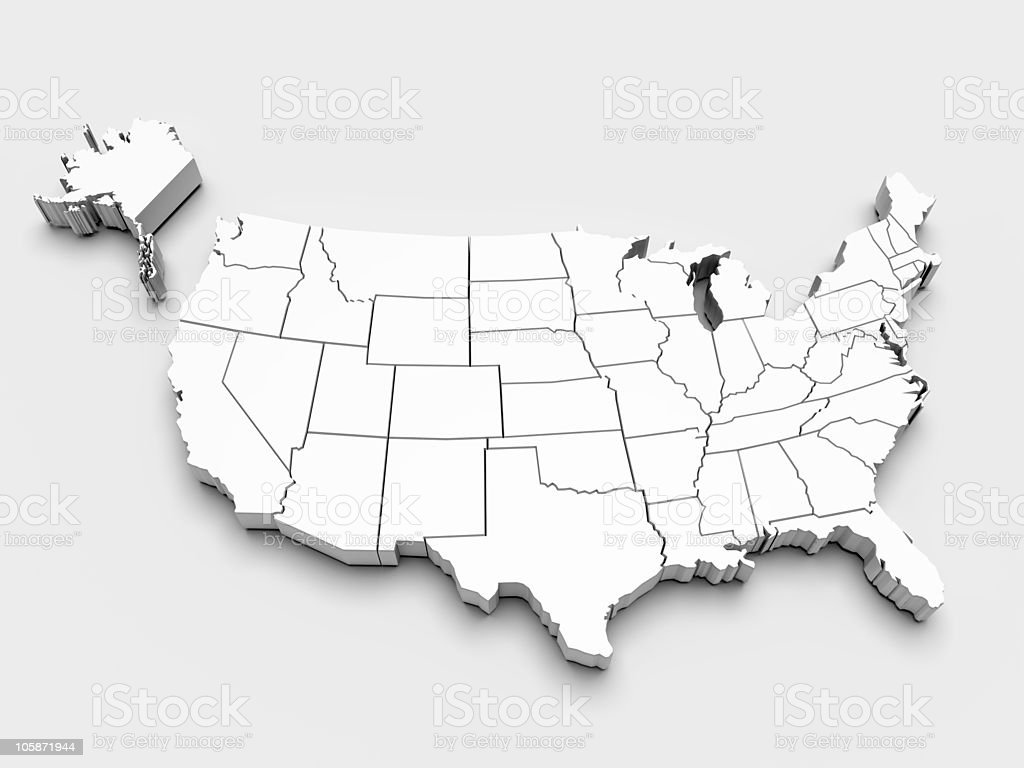 Map of USA. 3d stock photo