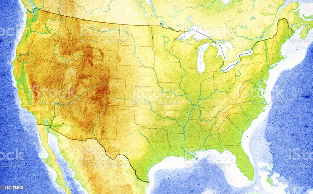 Map of USA Close-Up (High Resolution Image) royalty-free stock photo