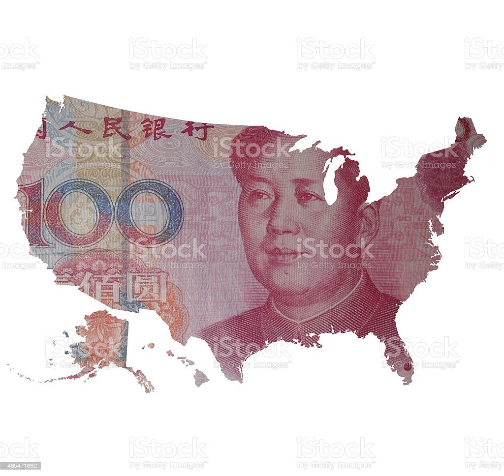 Map of USA covered with 100 yuan bill stock photo