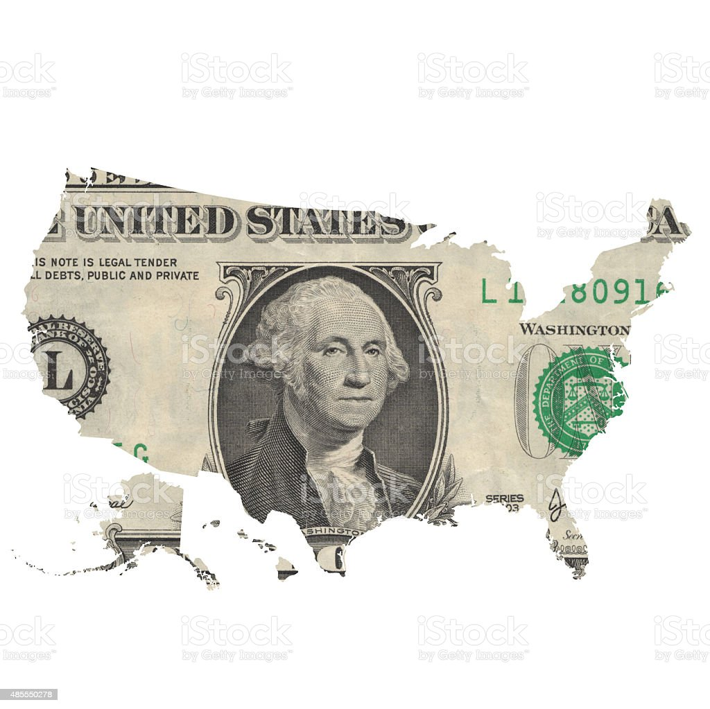 Map of USA covered with one dollar bill stock photo
