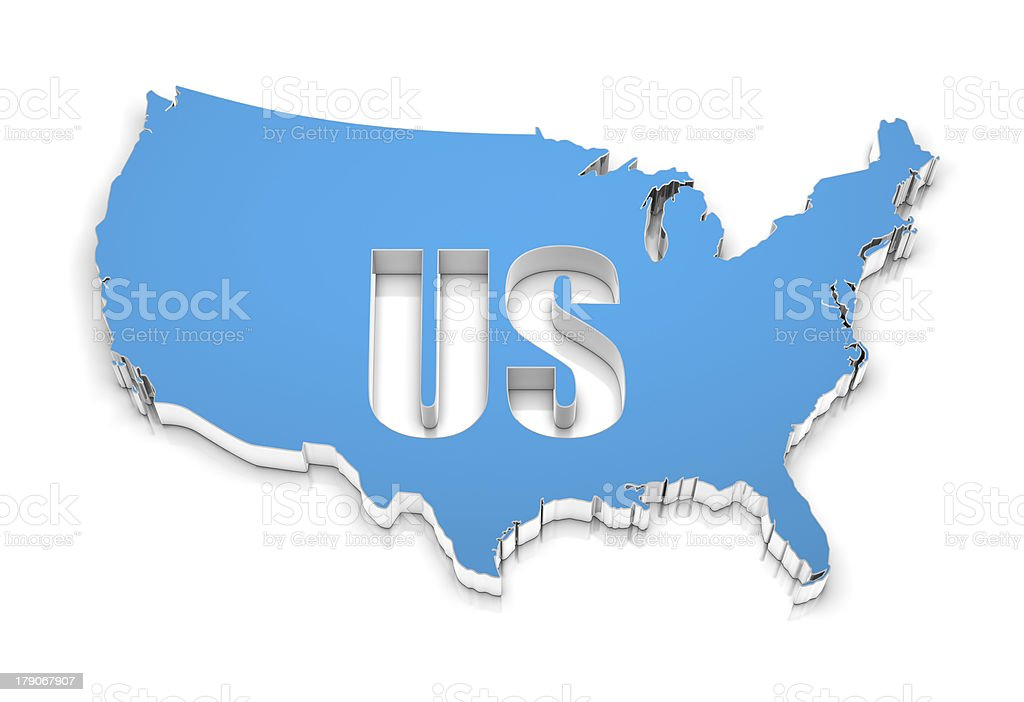 3D map of USA. royalty-free stock photo