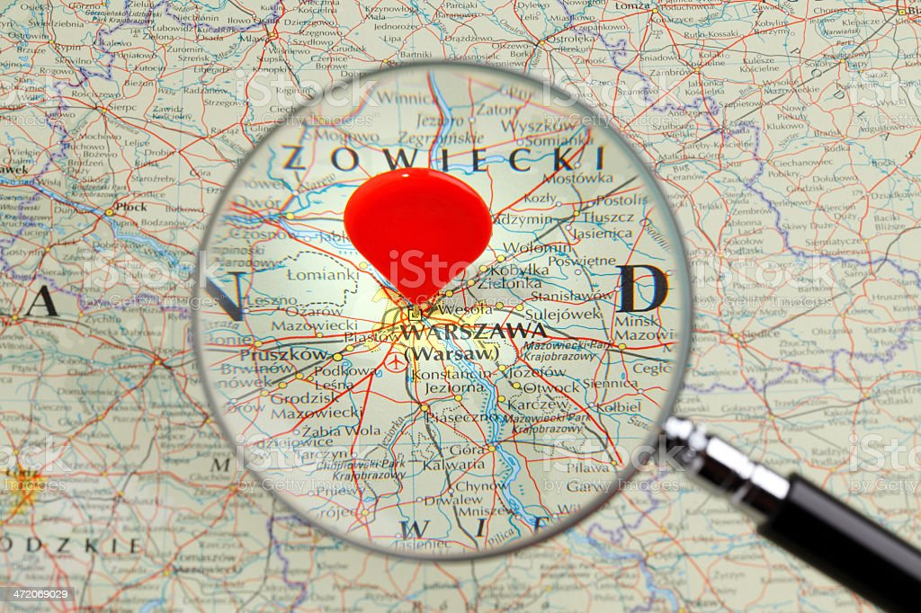 Map of Warsaw stock photo