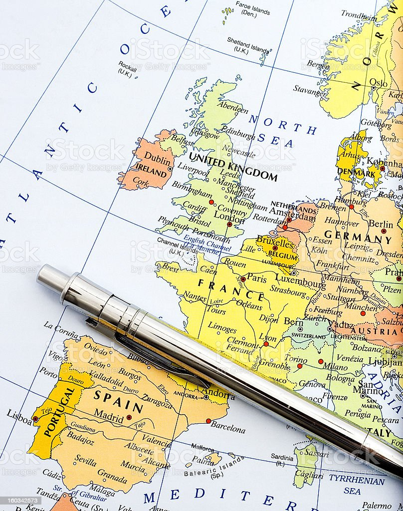 Map of Western Europe stock photo