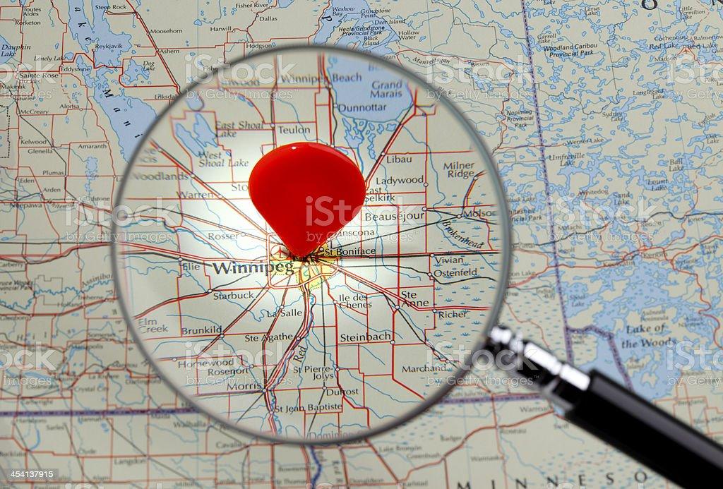Map of Winnipeg stock photo