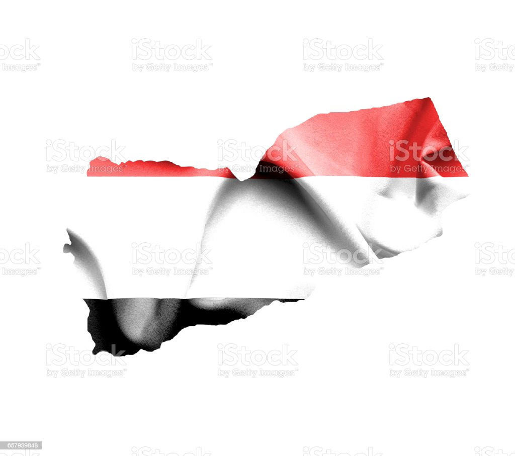 Map of Yemen with waving flag isolated on white stock photo