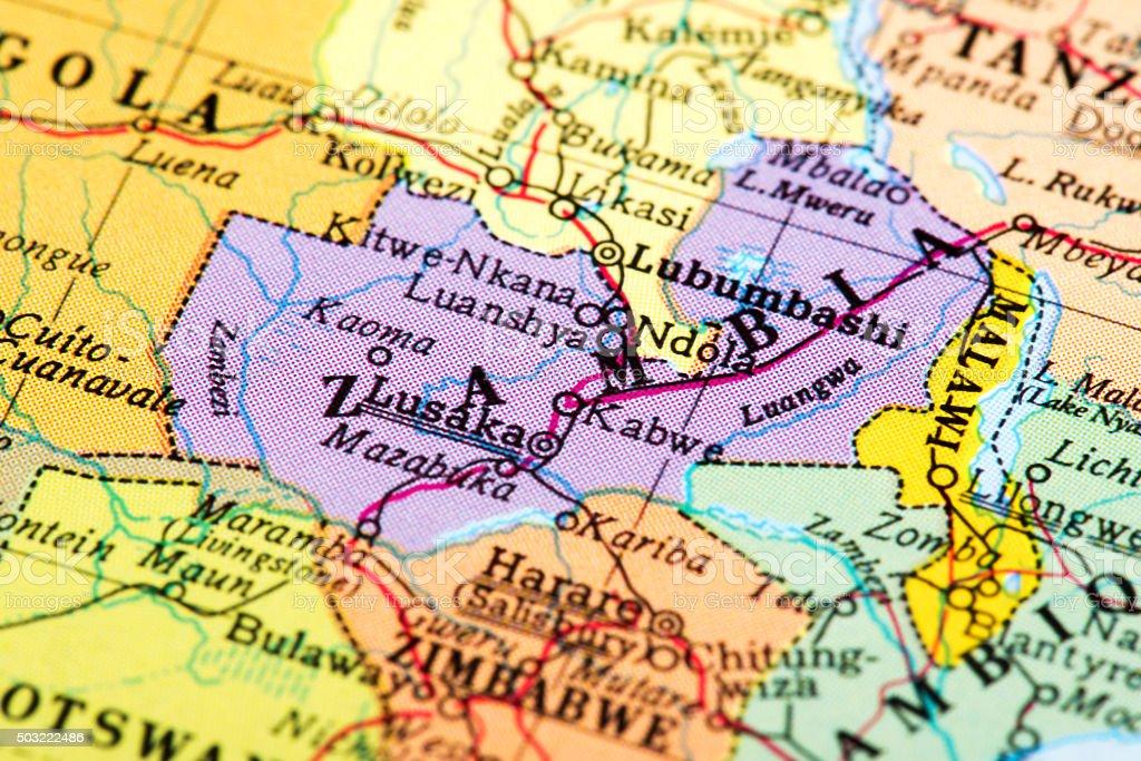 Map of Zambia stock photo