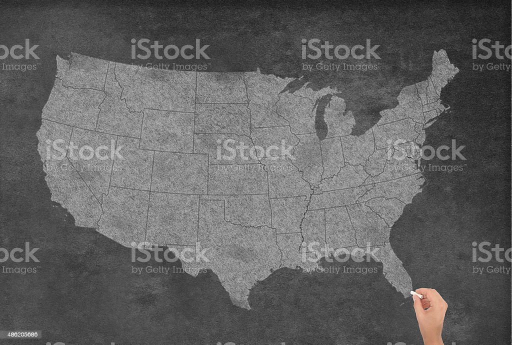 USA Map on a Blackboard stock photo