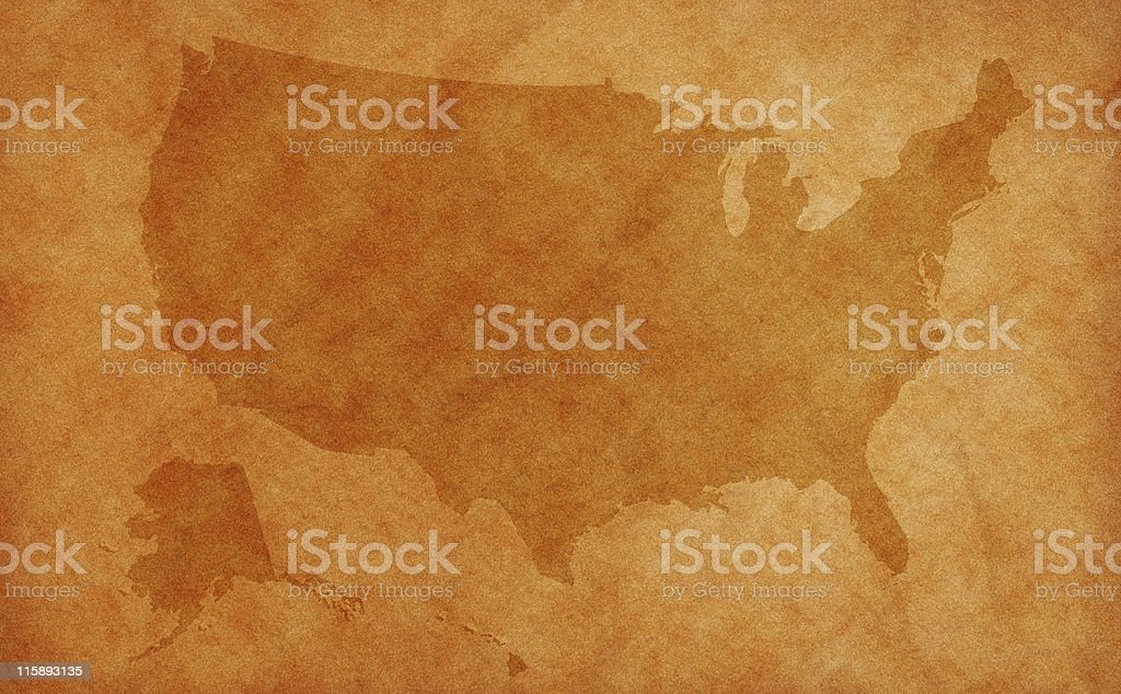 US map on aged background royalty-free stock photo